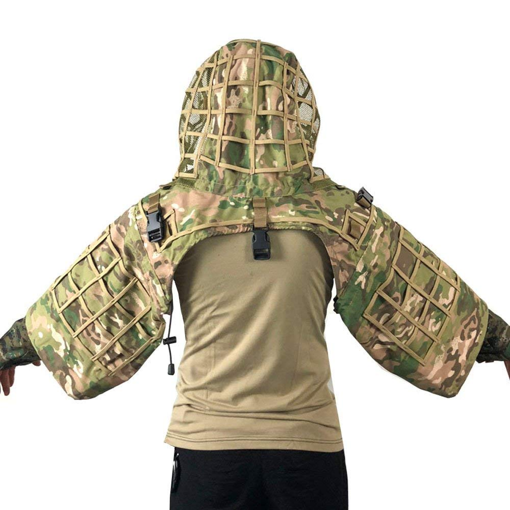 Sniper Ghillie Suit Foundation, Ripstop, Camouflage Tactical Ghillie Hood, Camouflage Hunting Suit for Airsoft Paintball 3d jungle camo ghillie suit camouflage hunting clothing sniper tactical camouflage suit bionic training suit paintball airsoft
