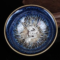 Chinese Porcelain Gaiwan China Jingdezhen Porcelain Bowl 45ml 925 Fine Silver teapot Master Dragon Teacup Tea Set GiftPackage