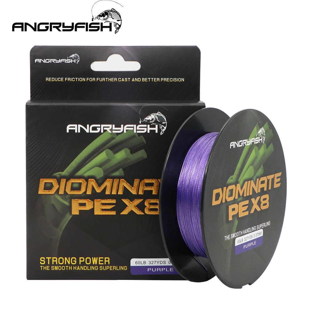 Angryfish Diominate PE X8 línea de pesca 327YDS/300M 8 hilos trenzados línea de pesca línea de multifilamento PE 18 20 30 40 50 80 lb