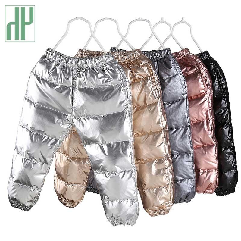 HH garçons pantalon duvet de canard or argent pantalon enfant en bas âge hiver pantalon pour filles Long Leggings épais chaud coupe-vent enfants pantalon