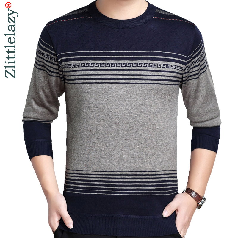 2019 New Designer Pullover Striped Men Sweater Dress Thick Winter Warm Jersey Knitted Sweaters Mens Wear Slim Fit Knitwear 50564