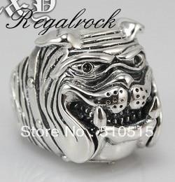 Bague chien Regalrock mode Shar Pei argent ancien