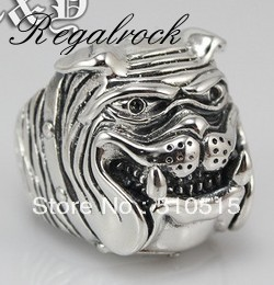 Regalrock Fashion Shar Pei Dog Ring Antique Silver cleaning brush kit long handle cleaner for fish tank