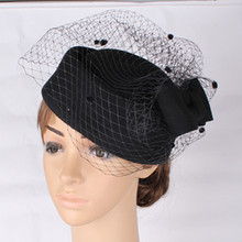 High quality 100 Wool Black fascinator hats base with birdcage veil bridal veils occasion hair accessoires