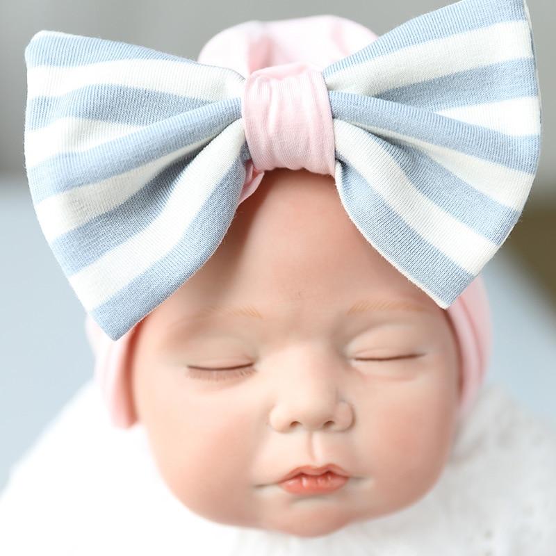 1 PC Newborn Hat Infant Toddler Baby Warm Winter Autumn Newborn Striped Caps Hospital Hats Soft Beanies Bow Hats 0-6M