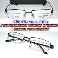 Optical Custom made optical lenses Al Mg Titanium alloy black semi-rim frame Reading glasses +1 +1.5 +2+2.5 +3 +3.5 +4 to +6