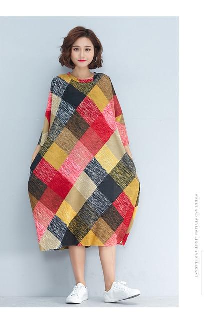 P Ammy LagenLook Mid-Long Plaid Loose Streetwear Shift Dress Plus Size Three Quarter Baggy Straight Checkered Tunic Dress 1