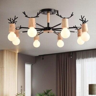 Wooden LED Chandelier For Living Room White Lustre Bedroom ...