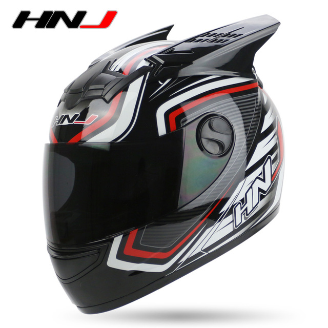 57cff889 Motorcycle full face Helmet Motor Bike Casco Off Road Casque Motocross  Racing Capacete With Horns HNJ Brand M318 DOT Approval