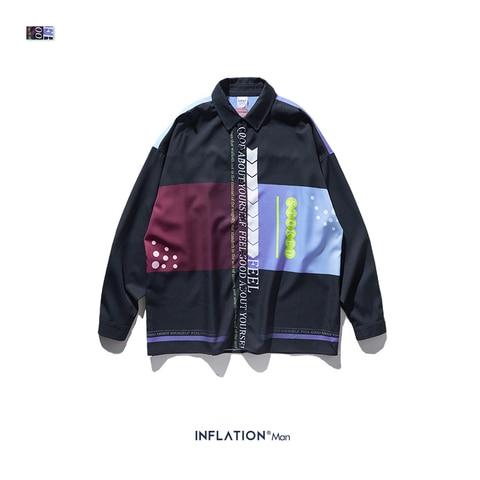 INFLATION Men Long Sleeve Shirts Digital Printing Oversized Shirts 2019 Autumn Male Streetwear Fashion Shirts 92140W Multan