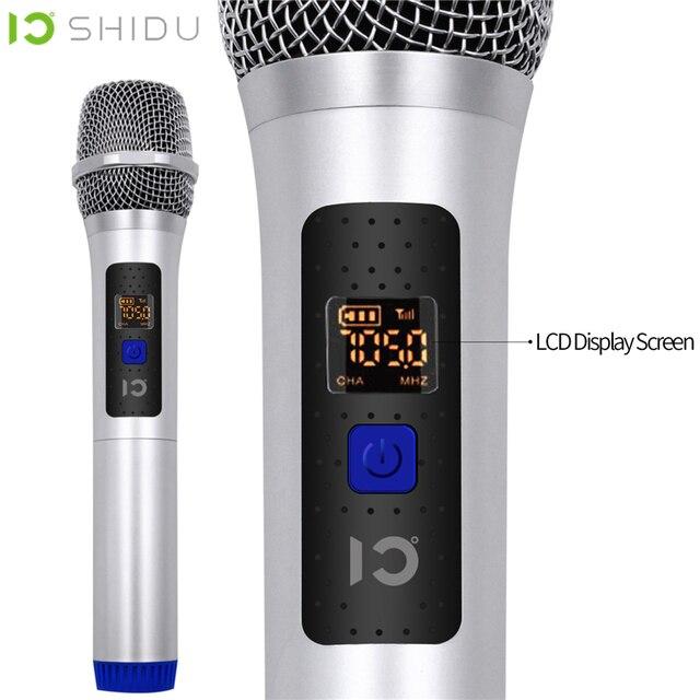 SHIDU 무선 마이크 핸드 헬드 UHF 다이나믹 무지 향성 휴대용 음성 증폭기 6.5mm 플러그 수신기 U20