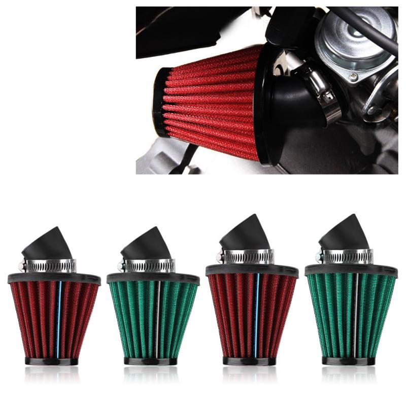 Motorcycle Air Intake Filter Cleaner Universal Car Styling 45 Degree 35mm/48mm Red/Green Bend