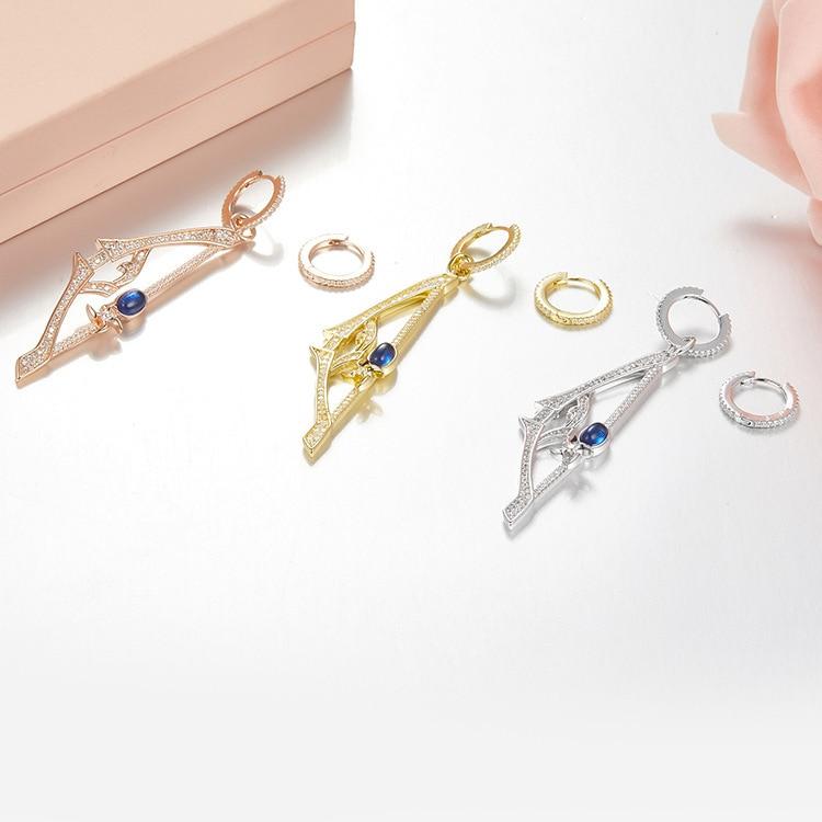 Fine Jewelry Trustful High Quality Sword Asymmetric Drop Earrings Luxury 100% 925 Sterling Silver Blue Cz Sword Ear Earring For Women Jewelry Clients First
