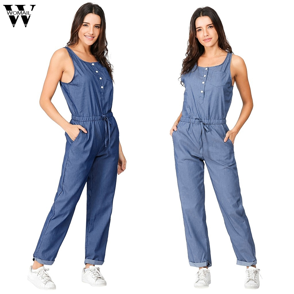 Womail bodysuit Women Summer Fashion Casual Holiday Playsuit Jeans Demin Elastic Waist Strappy Long Beach   Jumpsuit   dropship M6
