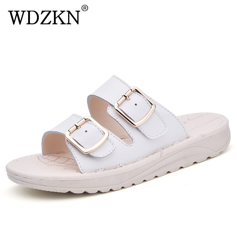 WDZKN Fashion Slippers Summer Women Sandals 2018 Split Leather Slip On Flat Slippers Comfortable Outdoor Women Flip Flops H703 mnixuan women slippers sandals summer