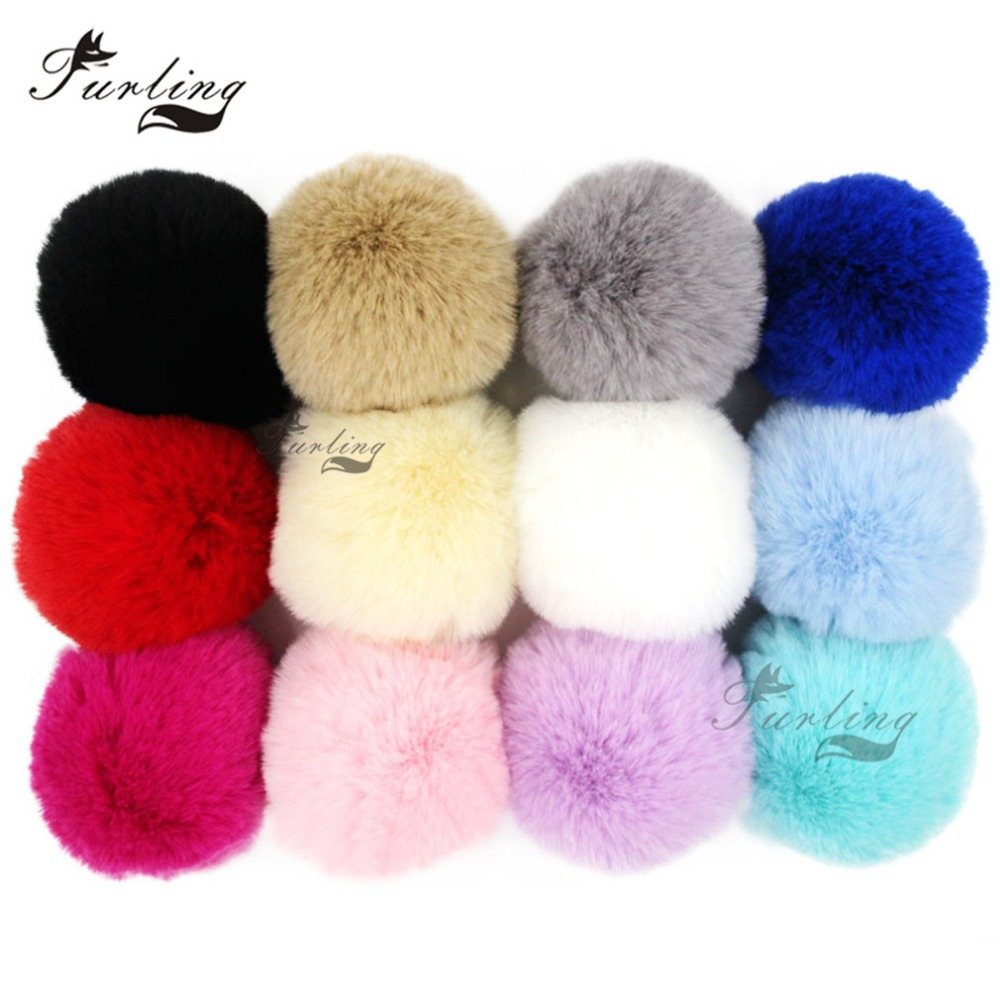 Furling 12pcs DIY Handmade 8cm Soft Faux Fur Pom Pom Ball for Key Ring Keychain Hangbag Beanie Cap Charm Jewelry Accessory