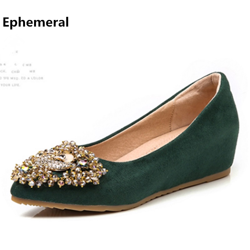 Ladies suede leather height increasing heel shoes for women wedge high heel pointed toe slip-ons with rhinestone plus size 43-3 nayiduyun women genuine leather wedge high heel pumps platform creepers round toe slip on casual shoes boots wedge sneakers