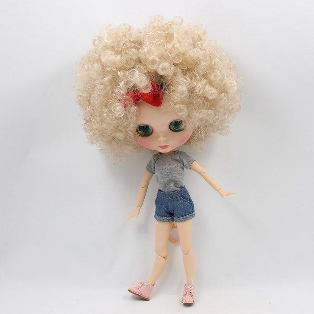 Blyth Joint Body with Champagne Afro-Hair Normal Skin 4 Color Eyes 1/6 Nude Doll Suitable for DIY gift for girl No.QE337