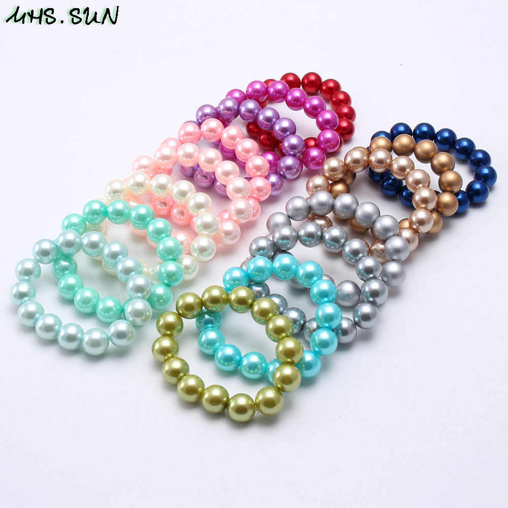 MHS.SUN Colorful Fashion Pearl Beads Bracelet Child Kids Girls Chunky Bubblegum Beads Bracelet For Baby Toddler Party Jewelry