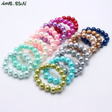 MHS.SUN Colorful Fashion Pearl Beads Bracelet Child Kids Girls Chunky Bubblegum Beads Bracelet For Baby Toddler Party Jewelry(China)