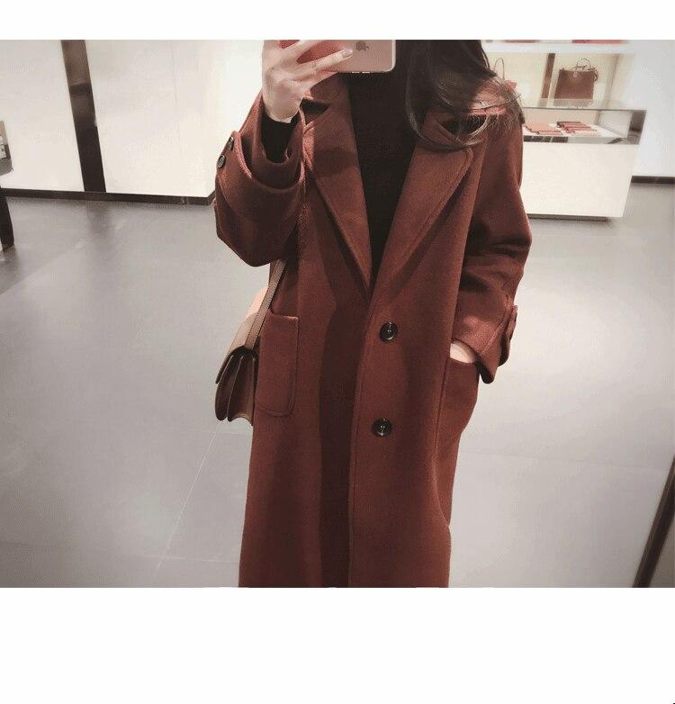 Veste Coréen Casual Colour Noir Mode caramel Solide Des À Mélange Taille Dames De Laine Turn Long down Femmes Large Col Manteau wPZqrRw