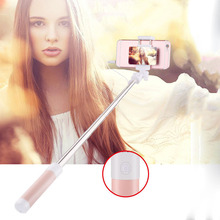 Actimarson Mini Selfie Stick 360 Rotatable Foldable Portable Extendable Wired Universal Self Stick with Mirror for Mobile Phone
