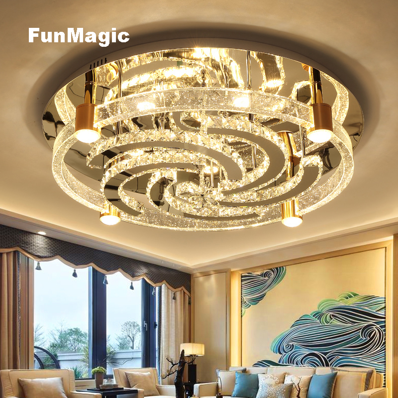 Modern Solid Crystal Bright Large LED Ceiling Lights Living Room Bedroom Windmill Ceiling Fixture Lamp Dimming Bedroom Lighting