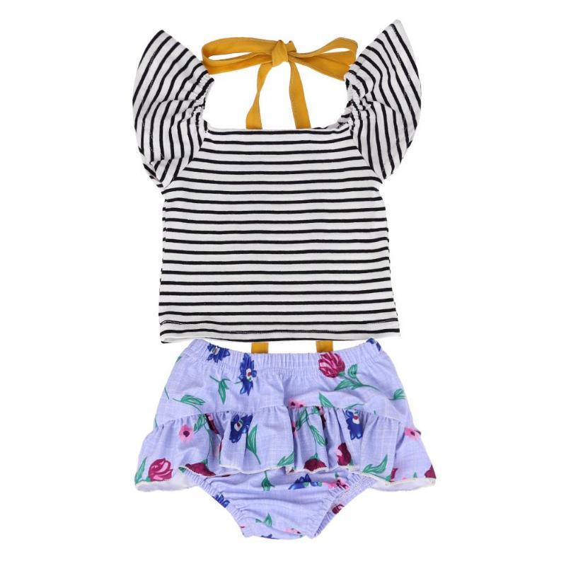 2pcs Summer Newborn Baby Girls Clothes Stripe Tops Floral Ruffle Shorts Briefs 2pcs Outfits Toddler Kids Clothing Sets 0-24M