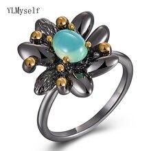 Lt кольцо с синим опаловым камнем Женское черным цветком украшения