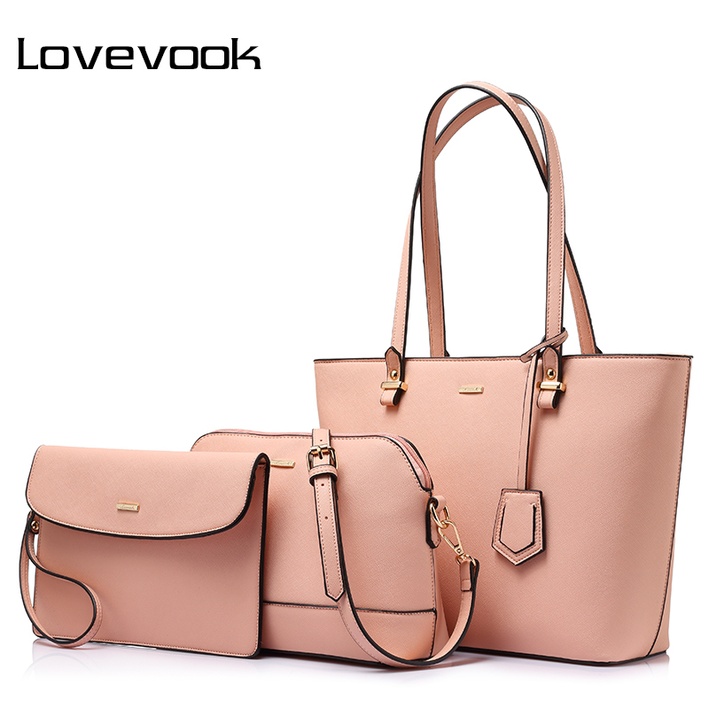 LOVEVOOK retro handbags for women shoulder crossbody bag female messenger bags large tote bag small wallet purse 3 set composite lovevook shoulder messenger bags for women crossbody bag pu female small handbag and purse with tassel fashion zippers designer