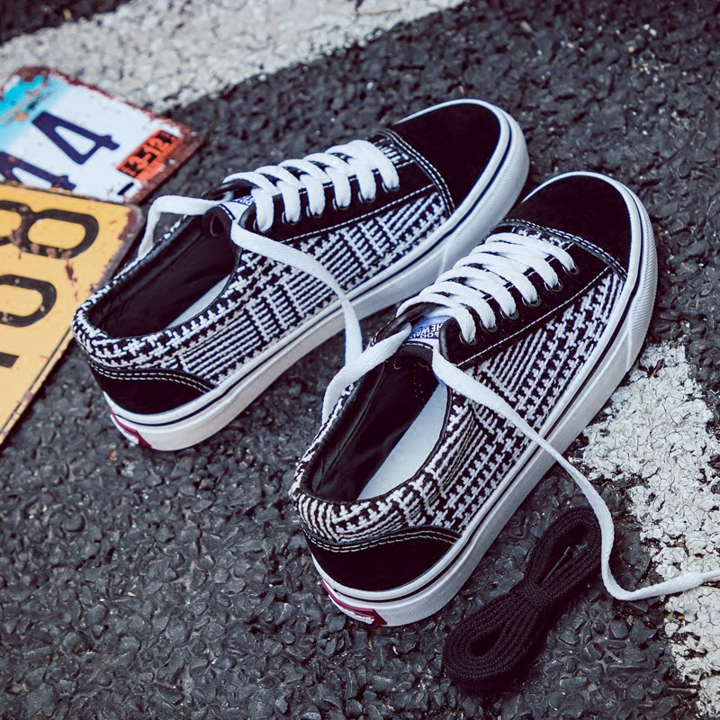 Women Fashion Canvas Shoes Lattice Women Sneakers Gingham Girls Casual Shoes Classic Style Zapatillas Lona Mujer Vintage 35-40