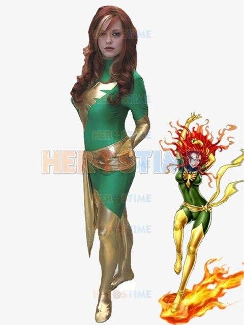 Green X,men Superhero Costume Dark Phoenix cosplay party halloween Spandex female  X,Men show costume