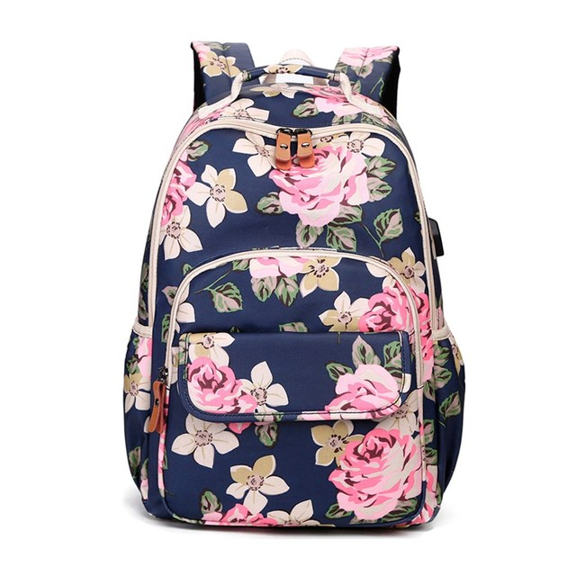 OKKID kids pink flower backpack floral school bags for teenage girls book bag cute backpacks for children girl school backpack