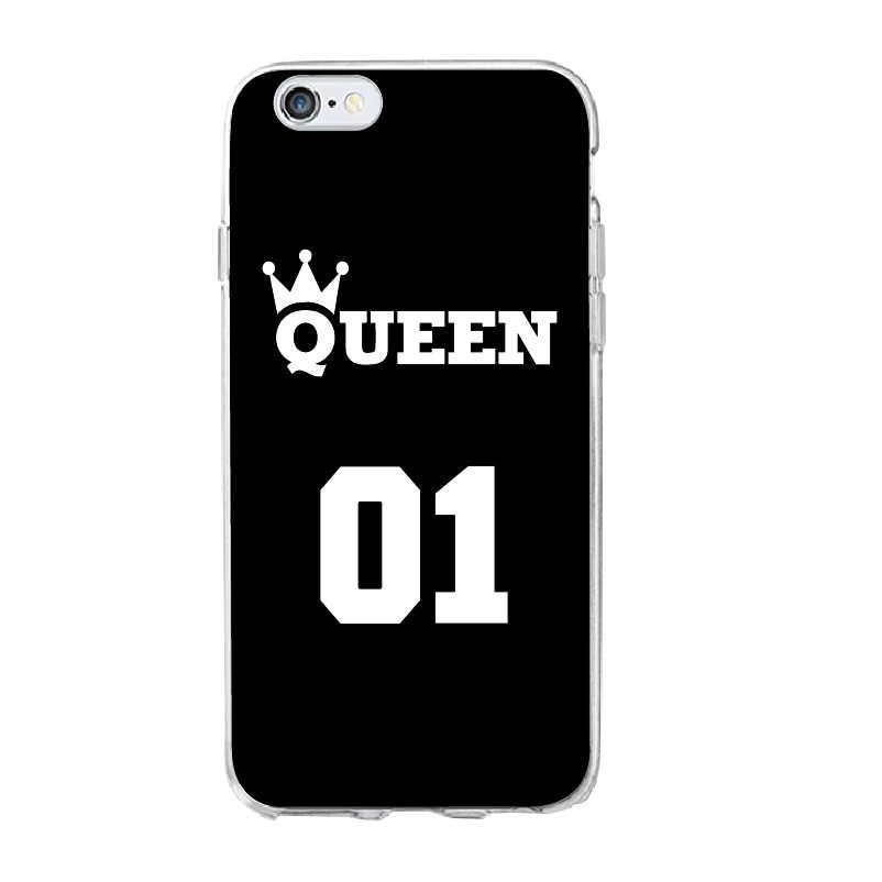 Прекрасный образ король и Queen и мягкий чехол для телефона чехол для Apple iPhone 7 6 s 8 плюс 5 4x7 Мягкие TPU Глянцевая Стиль кавычки рисунком