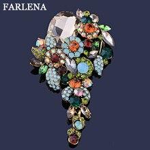 FARLENA Jewelry Vintage Green Rhinestone Crystal Flower Brooch Pins for Romantic Wedding Bride Bridesmaid Large