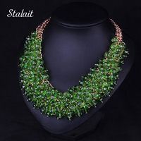 Fashion Bohemian Jewelry Pendant For Women Multilayer African Beads Feather Turquoise Maxi Collar Collier Ethnic Choker