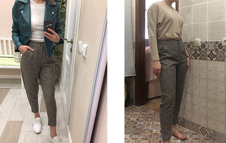 7917082c Toyouth damskie spodnie moda jesień zima Vintage szary siatka casual ...