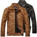 Мужчины Мотоцикл Кожаные Куртки 2017 Новая Мода Бренд мужской Осень Зима Флис Байкер Кожаная куртка Jaqueta Де Couro Masculina