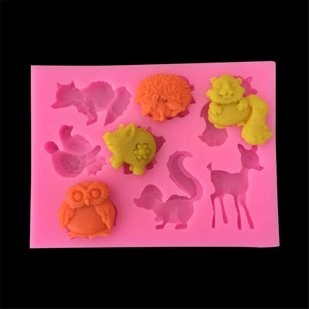 3D DIY Silicone Molds Forest Animal Fondant Cake Silicone Cupcake Molds Tools Cartoon Deer Mold Fondant Decorating Molds