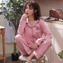 100% Cotton Women Pajamas Set Sexy Embroidery Warm Pyjama Long Sleeve Shirt Pants 2Piece/Set Loose Size Home Mom Sleepwear