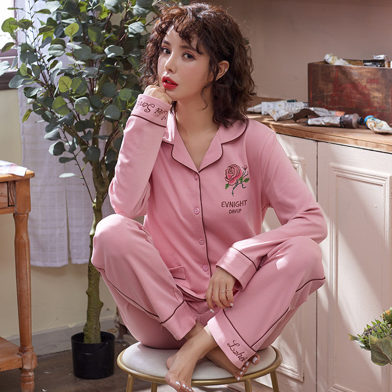 100% Cotton Women   Pajamas     Set   Sexy Embroidery Warm Pyjama Long Sleeve Shirt Pants 2Piece/  Set   Loose Size Home Mom Sleepwear