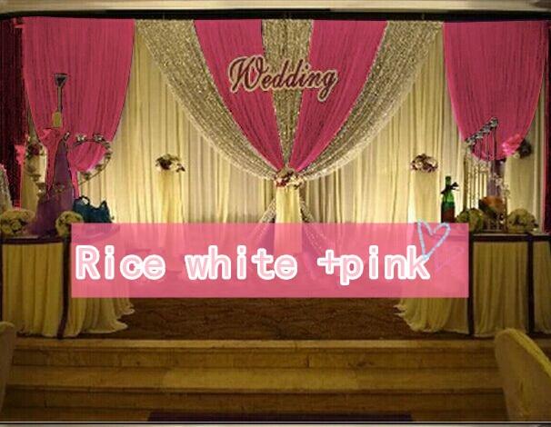 CALDO!! 3*6 m festa di nozze di seta del ghiaccio drapery Riso bianco paillettes di Colore con lo swag fase prop moda Copre la tenda Sullo Sfondo - 6