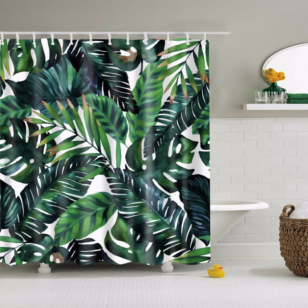 Palm shower curtain - Lfh 180x180cm Tropical Palm Parrot Polyester Fabric Waterproof Bathroom Shower Curtain Decor Fabric Shower Curtain Non