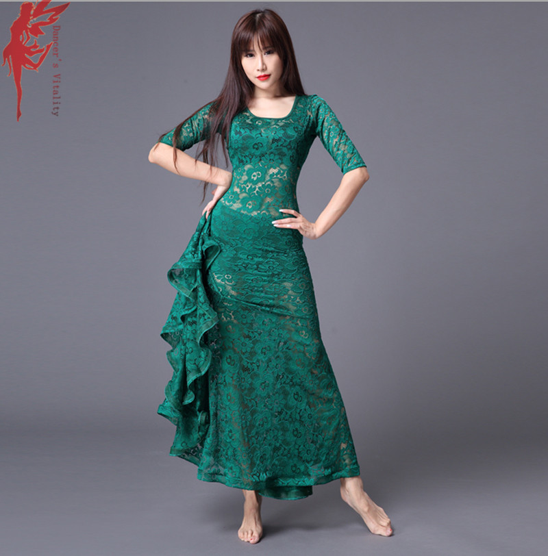 Lady fashion dress clothes senior lace latin dance dress girls belly dance show dresses dancer's clothing green red mint black