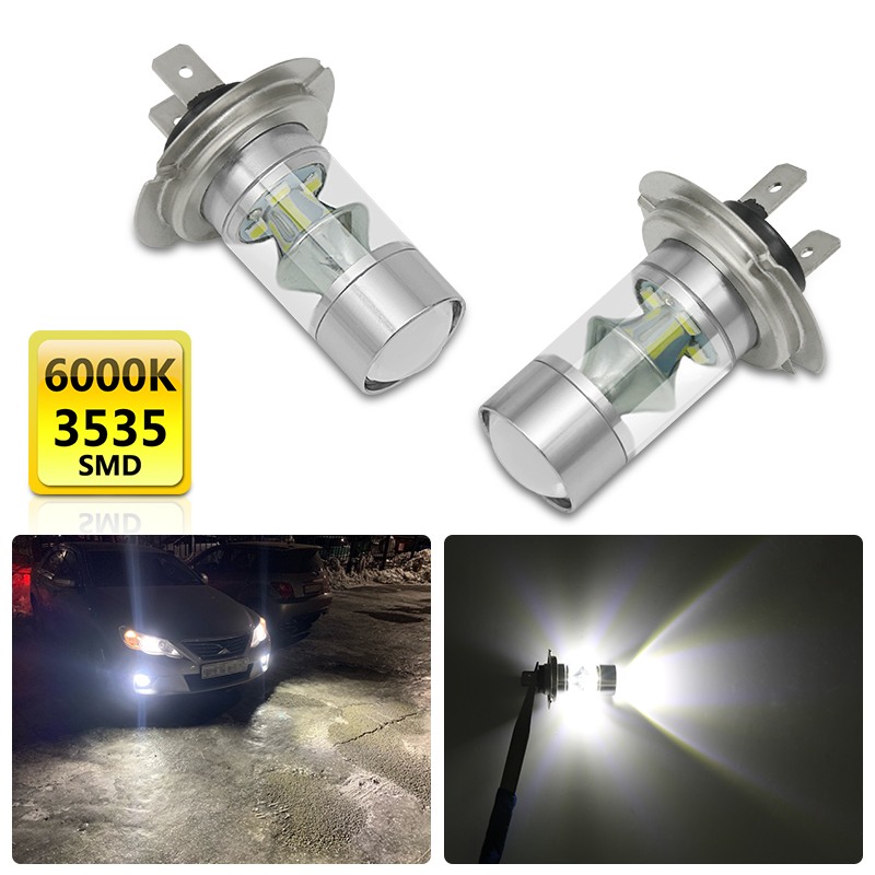 2Pcs Car <font><b>H7</b></font> 60W <font><b>LED</b></font> Fog Light Bulb Head Lamp For Hyundai XG250 300 i30 ix35 Tucson Coupe Solaris <font><b>Peugeot</b></font> 206 508 <font><b>2008</b></font> 301 308 image