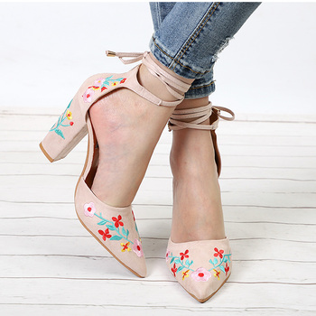 MCCKLE Women High Heels Plus Size Embroidery Pumps Flower Ankle Strap Shoes Female Two Piece Sexy Party Wedding Pointed Toe 3
