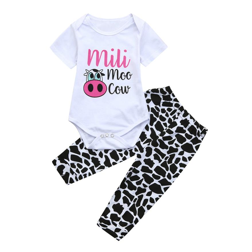 2pcs Toddler Baby Boys Girls Clothes Set Cow Letter Print Tops+Pants Outfits baby t shirts SET 5.16