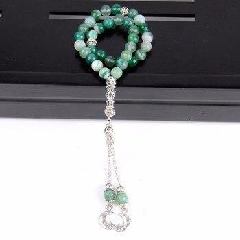 0404bad1d5d1 Venta al por mayor 33 cuentas de oración pulseras de Rosario musulmán 8mm  cuentas minerales naturales joyería de moda Tasbih para Mujeres Hombres ...