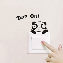 Removable Funny Turn Off Panda Switch Sticker Vinyl Wall Sticker Art Home Decor Mural DIY Stickers Free Shipping BB-27 27 sheets 1300 style cut emoji sticker smile for notebook message high vinyl funny creative free shipping