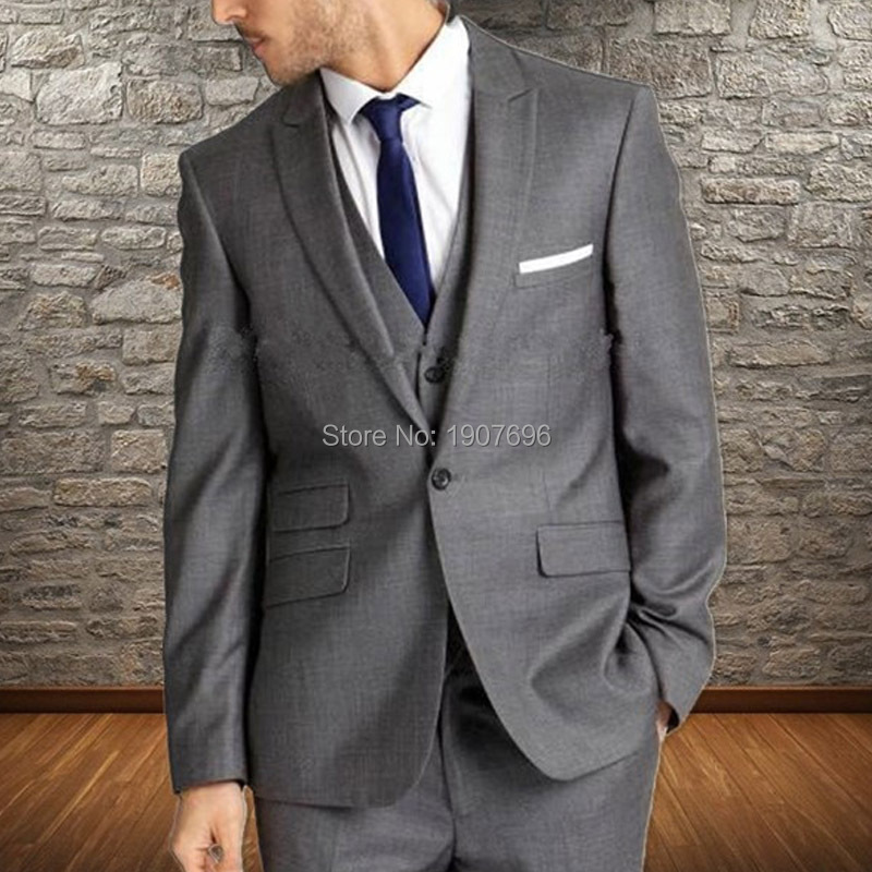 Gray Slim Fit Mens Suits For Wedding Groom Tuxedos Peaked Lapel 3 Piece Set Jacket Pants Vest Male Clothing New Fashion